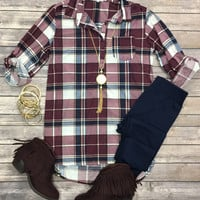 Lets Stay & Plaid Flannel Top: Plum/Navy