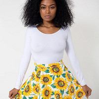 American Apparel - Sunflower Print Stretch Bull Denim Circle Skirt