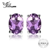 JewelryPalace Oval 1.4ct Natural Purple Amethyst Birthstone Stud Earrings Pure 925 Sterling Silver 2016 Fine Jewelry For Women