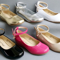 Toddler Girls Little Angel Sophie872D WEDDING PAGEANT Faux Patent Leather Wedge Heels Shoes