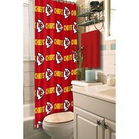 Kansas City Chiefs NFL Fabric Shower Curtain (72x72) FREE US SHIPPING