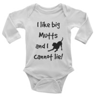 Funny baby boy longsleeve bodysuit, creeper, Onesuit, baby boy shower gift ideas, I like big mutts and I cannot lie, lab, dog lover, pet