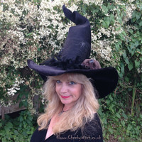 Tall Twisty Dramatic Cheeky Witch Hat with a Rat!
