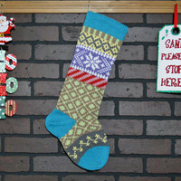 Christmas Stocking, Hand Knit Stocking, Fair Isle Stocking with Aqua Cuff and Aran Snowflake, can be personalized, wedding gift, baby gift
