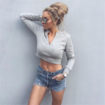Fashion Autumn Winter Long Sleeve Sexy V-Neck Crop Top [9405060996]