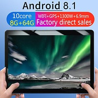 KT107 Round Hole Tablet 10.1 Inch HD Large Screen Android 8.10