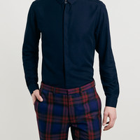 Premium Navy Viscose Long Sleeve Smart Shirt - Topman