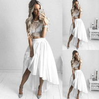 White Pleated Asymmetrical Hem Skirt