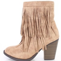 Natural Closed Toe Fringe Boots Faux Suede
