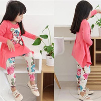 Girls Clothes Autumn Suits Girls Clothes New Kids Autumn Carton Bear Printing and Cotton Suits Children Long Sleeve and Flora Print Trouse