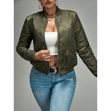 SHEIN SXY Zip Up Quilted Bomber Jacket