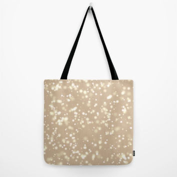 August special! Tote bag Lunch bag Beige colored bag  with black strap Artistic print of light spots in distance Sober style pattern