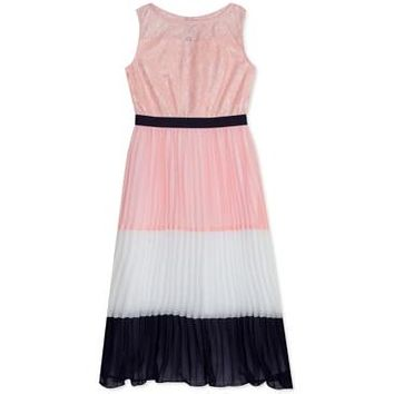 Rare Editions Little Girls Colorblocked Pleated Maxi Dress,SIZE 6/Blush