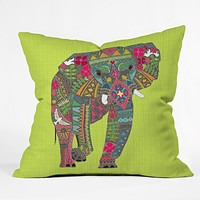 Sharon Turner Painted Elephant Chartreuse Throw Pillow