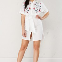 Button Up Dress in White