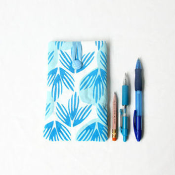 Large phone case, IPhone 6 plus cover, blue hand printed fabric phone cover, 6 inch phablet case, Sony Xperia Z ultra, handmade in the UK