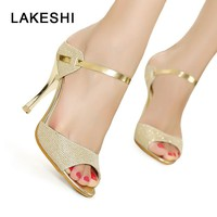 LAKESHI Women Sandals Peep Toe High Heels Sandals Bling Fashion Party Women Shoes Gold Ladies Shoes Summer Sandals Size 35-41