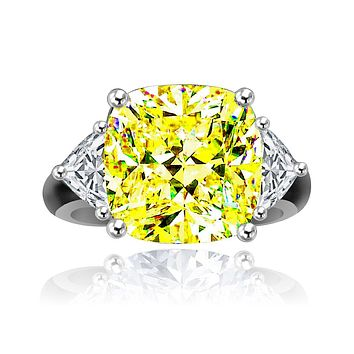 10CT Diamond Veneer Cubic Zirconia intense yellow Canary Sterling silver Ring. 635R71199