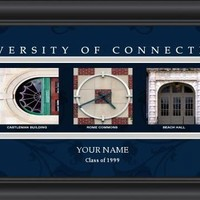 Connecticut Huskies | Campus Letter Art | Print | Personalized | Framed