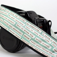 dSLR Camera Strap Happy Thoughts Aqua by CoopersCollars on Etsy
