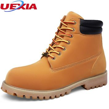 UEXIA Fashion Leather Boots Men Shoes Casual Leather Moccasin Motorcycle Business Martin High Casual Chaussure Homme Big Size 50