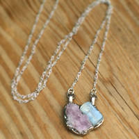Pink Fluorite and Kyanite Necklace