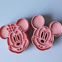 2pcs Mickey Minny Mouse Fondant Cake Molds Cookie Biscuit Cutter Mold Mould Tools Set Cartoon 3D Cake Mold