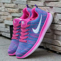 """Nike"" Fashion Breathable Sneakers Sport Shoes Purple white hook"
