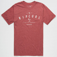 Rip Curl Palm City Mens T-Shirt Heather Red  In Sizes