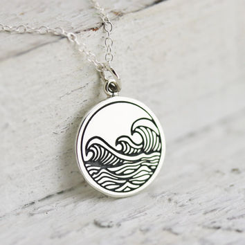 Waves Necklace - Sterling Silver Etched Ocean Waves Necklace - Waves Pendant - Beach Jewelry - Surfing Necklace - Water Necklace - Resort