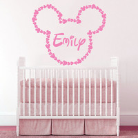 Wall Decal Vinyl Sticker Decals Art Home Decor Design Mural Disney Personalized Custom Baby Name Head Mice Ears Mickey Mouse Gift Kids AN303