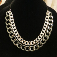 Thick Chunky Silver on Gunmetal Chain Necklace Two Tone Ombre Adjustable Double Curb Chunky Statement Cuff Necklace / The Roxbury