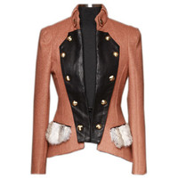 Double Breasted Color Block Coat [NCSOE0088] - $105.99 :