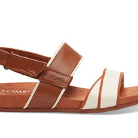 TOMS Cognac Leather Women's Tierra Sandal Brown