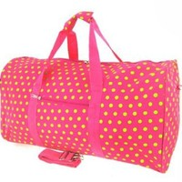 "22"" Carry On Duffel Bag (Green & Pink Small Polka Dot)"