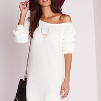 Missguided - Off Shoulder Knitted Sweater Dress Cream