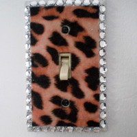 ANIMAL PRINT & BLING Switchplate -Cheetah Print eco felt with sparkling clear rhinestones