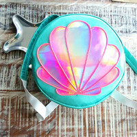 El Wire Round Mermaid Rave Festival  Backpack . Clam Shell Purse . Ariel Little Mermaid Backpack . Holographic Custom Logo Bag