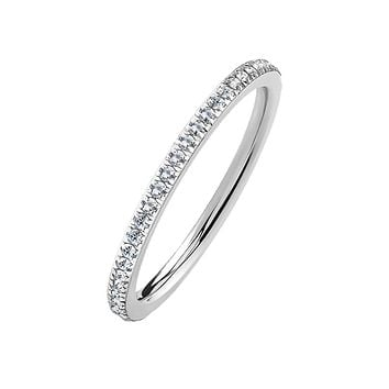 Sweet Eternity - Women's Single Lined CZ Paved Stainless Steel Eternity Ring
