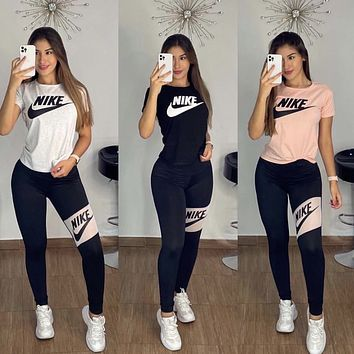 NIKE Women With short sleeves Top Pants trousersTwo-Piece