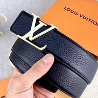 LV Tide brand wild simple smooth buckle belt