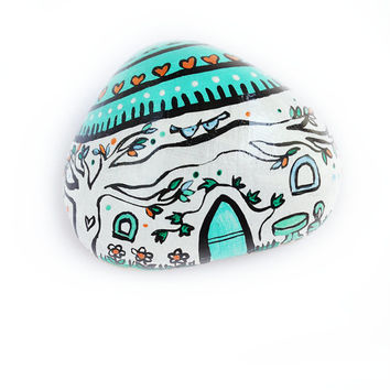 Handpainted paperweight house in acquamarina for your workplace