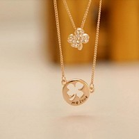 clover my love rhinestone double chains OL necklace