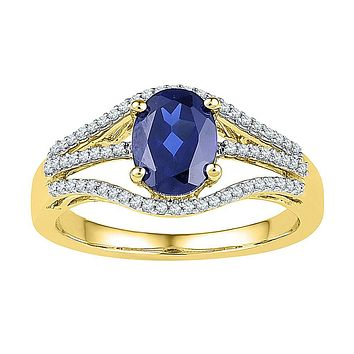 10k Yellow Gold Oval Created Blue Sapphire Solitaire Diamond Ring 1-3/4 Cttw