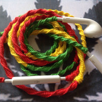 """Rasta and Reggae Beats - Wrapped Earbuds / Tangle Free Headphones / Chargers and Cables in """"Rasta"""" Red, Yellow, and Green by MyBuds"""