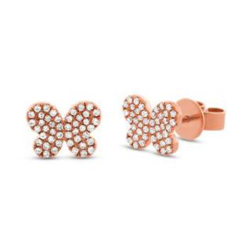 0.22ct 14k Rose Gold Diamond Pave Butterfly Earring