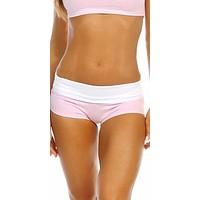 Sexy Balance Roll Down Top Athletic Yoga Hot Pants In Pink