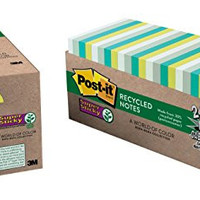Post-it Recycled Super Sticky Notes, 3 in x 3 in, Bora Bora Collection, 24 Pads/Pack (654-24SST-CP)