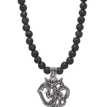 Men's Beaded Necklace with Lava Stone and Om Pendant