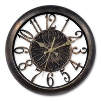 Chaney Antiqued Wall Clock (Black/Gold)